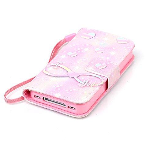 Ukayfe Custodia iphone 4/4S in Pelle, Portafoglio / wallet / libro Flip elegante e di alta qualità con porta carte di credito e banconote Stampa creativa Chiusura Magnetica Protettiva Cover Case per A Pink romanzesco