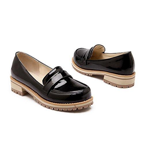 VogueZone009 Femme Tire Rond à Talon Bas Pu Cuir Couleur Unie Chaussures Légeres Noir
