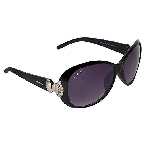 Creature Gaga Oversized Sunglasses For Girls(Lens-Purple||Frame-Black||GAGA-004)
