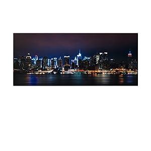 LED Bild Stadt , Bridge, Skyline XXL Bild, riesig , LED Stimmungsbild mit 20 LED / 120 cm Breit x 50 cm Hoch Batteriebetrieb , nur 0,06W, Leuchtbild auf Leinwand mit An und Ausschalter , Batterien inklusive. Riesiges Bild, LED