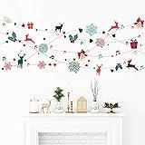 Stickers adhésifs Noël | Sticker Autocollant Guirlande Design - Décoration Murale Scandinave fêtes de Noël | 30 x 70 cm
