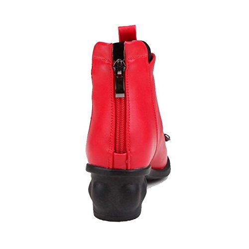VogueZone009 Donna Puro Tacco Medio Punta Tonda Luccichio Cerniera Stivali Rosso