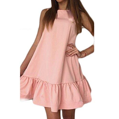 Frauen Mode ärmellos Hochgeschlossen Loose Beiläufige Volant Minikleid Strandkleider Beachwear Pullikleid Partykleider Ballkleid Rosa