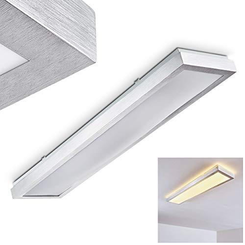 LED Deckenleuchte Wutach, rechteckige Deckenlampe aus Metall in Alu gebürstet, 1 x 24 Watt, 1800 Lumen, Lichtfarbe 3000 Kelvin (warmweiß), IP 44, auch für das Badezimmer geeignet