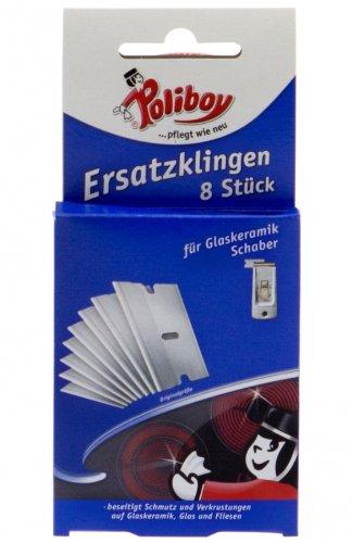Poliboy Ersatzklingen für Glaskeramik Ceranfeld Schaber, 8 Stück (ALA44)