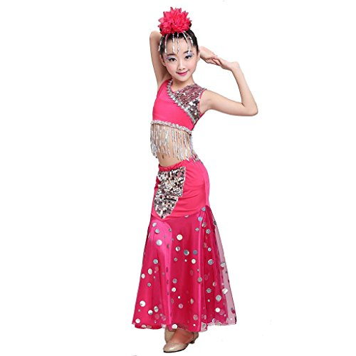 Byjia Kinder Pfau Bauch Tanz Performance Kostüm Mädchen Fischschwanz Rock Klassische Sequins Mädchen Tragen Kinder Bühnen Studenten Chor Gruppe Team . 3# . (Kostüme Gruppe Mädchen 3 Von)