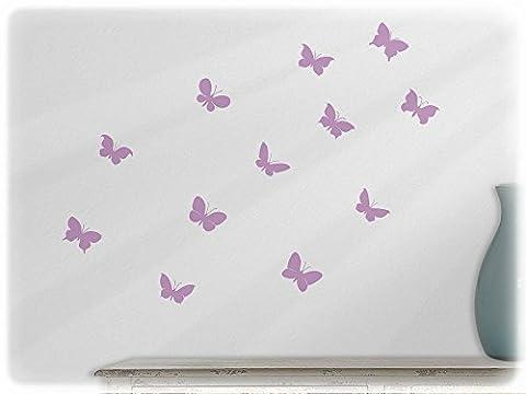 Wall art sticker 12 cute butterflies --42-lilac