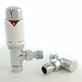 Realm Angled TRV White - Thermostatic Radiator Valves Set