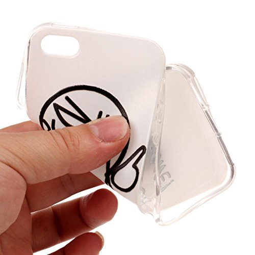 SZHTSWU 2 x Hülle für iPhone 5 / 5s / 5SE, Ultra Slim Thin Weiche TPU Ultradünn Silikon Schutzhülle Case Transparent Clear Flexible Rückschale Back Cover Etui Handy Hülle Bumper Abdeckung für Apple iP Monstre Tortue