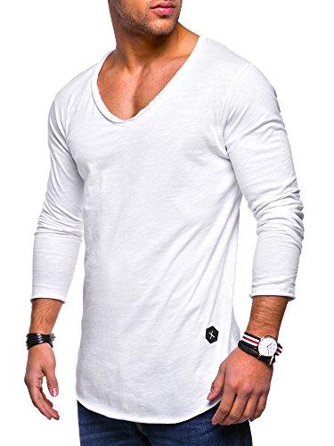 MT Styles Herren Oversize Longsleeve V-Neck Rundhals Sweatshirt MT-7314 [Weiß, XXL]
