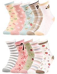 VBIGER 10 pares Niñas Calcetines De Algodón Lindo Cómodo Calcetines 3-7 Años & 8-12 Años