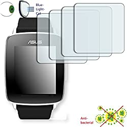 4x Disagu ClearScreen Overlay Screen Protector for Asus Vivo Watch-Anti-Bacterial Bluel Light Cut Filter (Deliberately Smaller than Display due to Curved Shape)