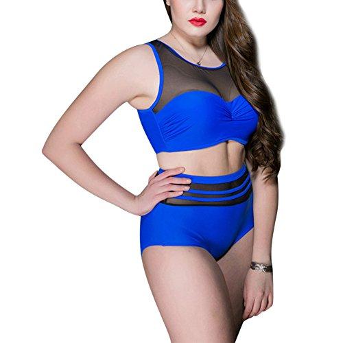 MRSMR Damen Bikini Set Badeanzug Schwimmanzug Badebekleidung Tankini Badekleidung große Größe Saison Durchsichtlich Blau