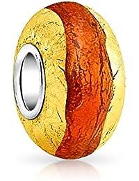 Bling Jewelry Citrine simulé Orange Feuille d'Argent Perles Lampwork en verre de Murano en Argent Sterling Charme