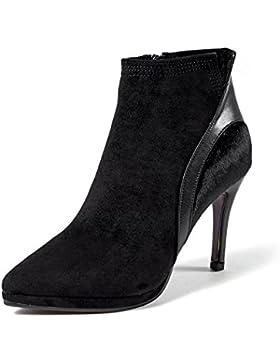 KPHY-La multa con botas High-Heeled Butt-Color invierno nueva punta satinado botas impermeables costuras Taiwán...