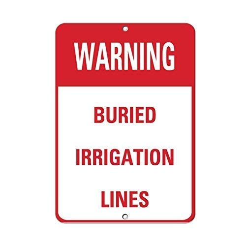 Tin Sign Fashion Warning Buried Irrigation Lines Activity Sign Farm Sign Metal Aluminum Sign Wall Plaque for Indoor Outdoor 7.8x11.8 Inch -