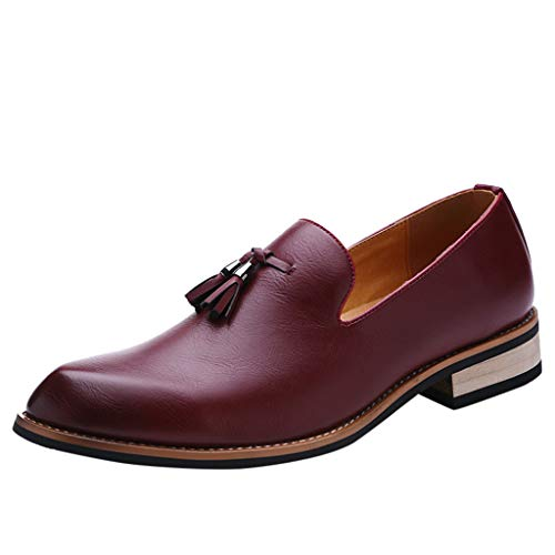 KonJin Men's Leather Lined Dress Loafers Slip-On Shoes Premium Leather Slip On Oxfords Lightweight Business Patent Wedding Shoes