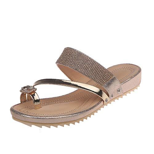 Mitlfuny Damen Sommer Sandalen Bohemian Flach Sandaletten Sommer Strand Schuhe,Damenmode Freizeitschuhe Hausschuhe Sommer Hausschuhe mit flachem Absatz (Cushe Womens Schuhe)
