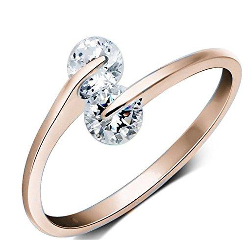 BIGBOBA 1 Stück Shiny Double Strass Ring Romantische Kristall Ring Freundin Lieblings Urlaub Geschenk Elegante Dame Schmuck Ring Roségold
