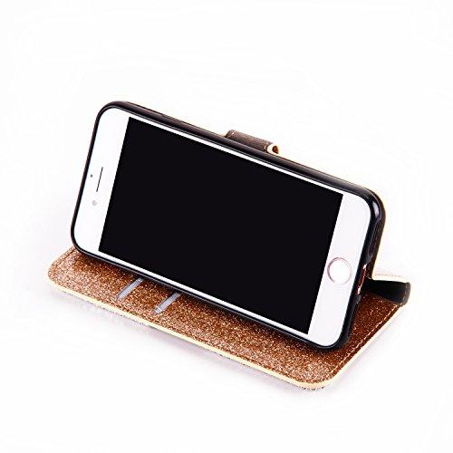 Cover pour iPhone 8Plus, CLTPY iPhone 7Plus Mignon Paillette Flash Diamond Motif Style Design avec Magnetique et Fente de Carte Full Body Wrap Back Cover Case Couvrir pour Apple iPhone 7Plus/8Plus + 1 Gold 1