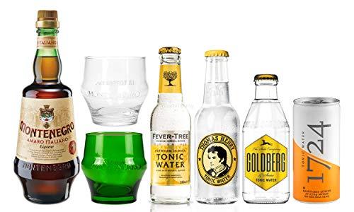 (Montenegro & Tonic XXL Set - Montenegro Amaro Italiano Likör 0,7L (43% Vol) + 4x verschiedene Tonic Water je 200ml + 2x Gläser Tumbler Glas (klar & grün))