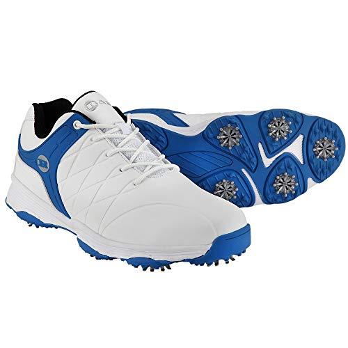 Ram Golf FX Tour Mens Waterproof Golf Shoes- White/Blue- UK 7.5