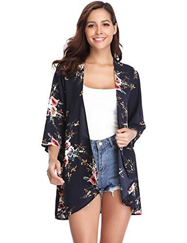Floral Shirt Jacke (Damen Chiffon Kimono Cardigan Blumen Print 3/4 Arm Sommer Cover up Leichte Jacke Strand)