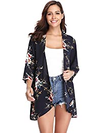 1dcd3741cf Abollria Women's Beach Cover up Chiffon Floral Boho Summer Cardigan Kimono  Blouse