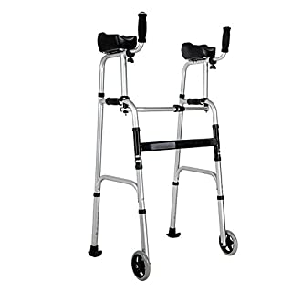 Aili Deluxe Two Handle Folding Walker With 5-Inch Wheels