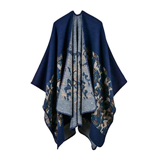 Donna Poncho Cape Scialle Elegante Reversibile Cachemire Moda Casual Knitted Camouflage Pattern Cappotto Autunno Inverno Top Poncho Capes Mantellina Cardigan Taglie Forti Blu
