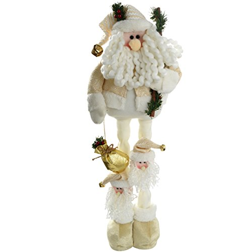 WeRChristmas - Babbo Natale con gambe estensibili, pupazzo natalizio, colore: bianco/oro, dimensioni: da 30 a 40 cm