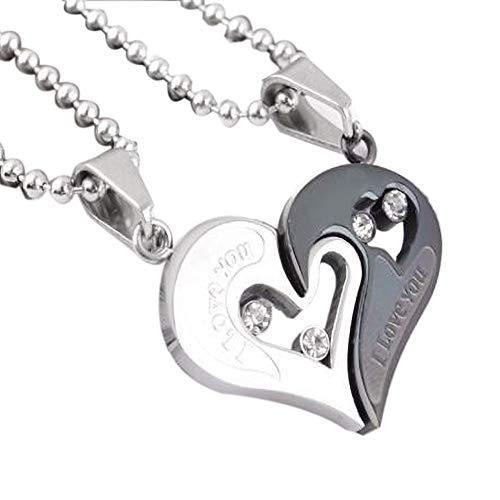 AMOYER 2ST Frauen Und Für Ihn Paare Halsketten-Anhänger Crown Love Heart Key Matching Puzzle Passende Halskette Für Männer
