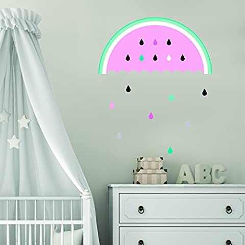 Juicy Melon Drop and Multi Colour Raindrops Wall Sticker Wall