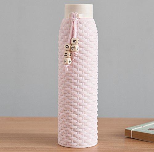 JMAHE Trinkflasche Glas Auslaufsiche Sportflasche Trinkflasche Glas mit Silikonhülle Rutschfest Doppelschichtfür Yoga & Sport, Smoothies, Fitness, Sport, Leben (Rosa)