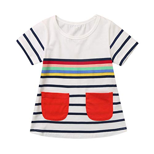 squarex  Mädchen Freizeitkleid Kleinkind Tasche Kurzarm Rock Kinder Freizeitkleid Sommer Baby Gestreiftes Hemd Bequemes Kleid (Kleinkind, Hemden Und Krawatten)