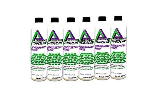 Tobolin Horizontalsperre 6 x 500mL + 6 x Injektionsaufsatz ~ 4 Flaschen/Meter - Verkieselungsmittel zur Mauerwerkstrockenlegung & Horizontalsperre - hocheffektiv gegen aufsteigende Feuchtigkeit