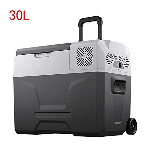TUNBG Tragbarer elektrischer Kühler von, mit Rollen und Deichsel, kompakter 30-l-Gefriertruhe, 12-24 V / 110-240 V, 20 ° C bis -20 ° C, für LKW und PKW/Privathaushalte geeignet8fd9cdd8f4db2bd6331 -