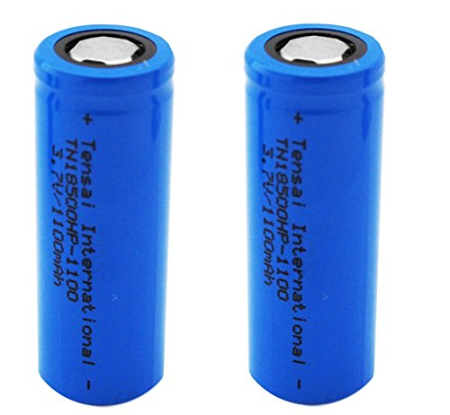 ENERPOWER haute puissance sans protection batterie 18500 Lithium-Ion (1100mAh, 20C, 3.7V, 2-pack)
