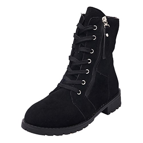 ¡Nuevas Botas! Toamen Mujer Otoño Moda Suave Botines Botines Zapatos (EU:36, Negro)