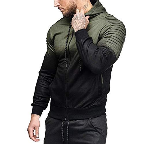 UFACE Herren Panel Plissee Kapuzen Casual Sweatshirt Winter Langarm Spleißen Falten Kapuze Top Bluse Trainingsanzüge(Armeegrün,2XL