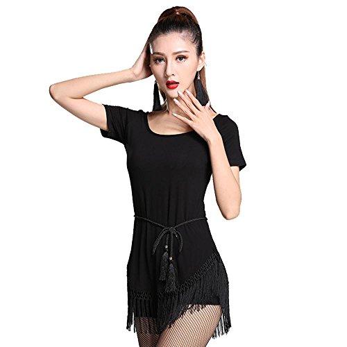 Stämme Welt Der Kostüm (YI WELT Frau tanzen Kleidung Mädchen Lateinischer Tanz Hemd Kurze Ärmel Moderner Tanz Baumwolle + Quasten Kleid schwarz , black ,)