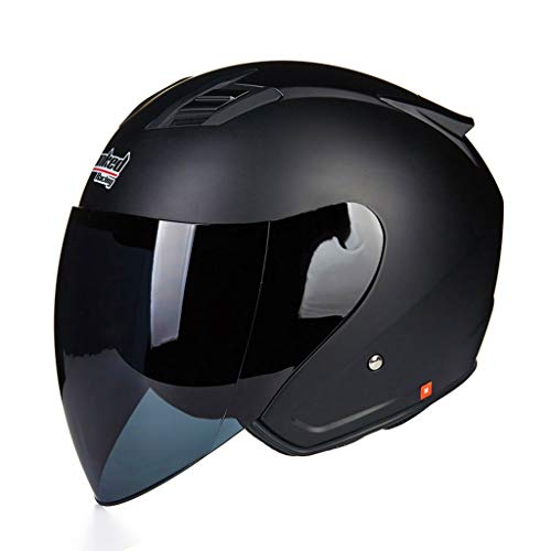 NJ Helm- Elektrischer Motorrad-Vollschutzhelm, Regen- und UV-Schutzhelm, braune lange Linse (Color : Black A, Size : M)
