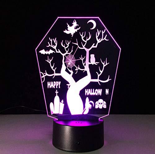 Allerheiligen 3D Led Nachtsicht Stereolampe 7 Farbwechsel Usb Led Als Halloween Deko