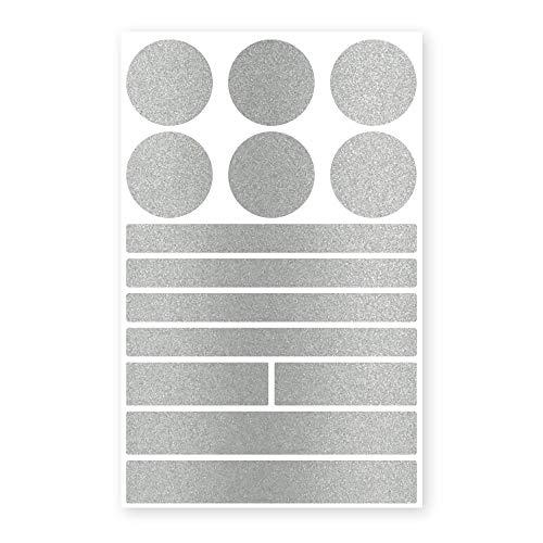 reflecto Stick-On Reflektoren-Aufkleber in edler Metallic-matt Optik - 14-teiliges Set in versch. Farben - selbstklebend - für Textilien, Kinderwagen, Ranzen, Helme (Silber)