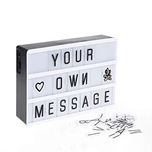 Cinema Light Box, Light Briefkasten mit Buchstaben 192 Buchstaben Zahlen Symbole Dekoration Lampe für Weihnachten/Halloween/Geburtstag A4 Weiß,Black