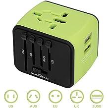 Cargador de Viaje Universal WEINAS@ Enchufe de Viaje Adaptador con 2 Puertos USB de Carga, Adaptador de Enchufe Internacional de EU/US/UK/AU para 160 Países - Color Verde