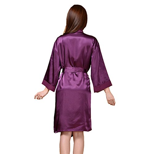 Honeystore Damen Morgenmantel Satin Robe Nachtwäsche Bademantel Kimono Negligee Seidenrobe Schlafanzug lang Violett