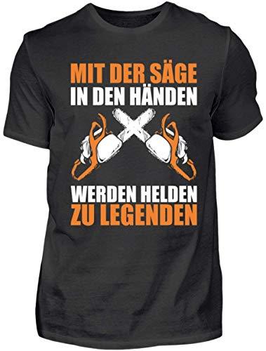 HOLZBRÜDER® Holz T-Shirt - Mit der Säge in den Händen Werden Helden zu Legenden - Wald - Kettensäge - Fichten (L)
