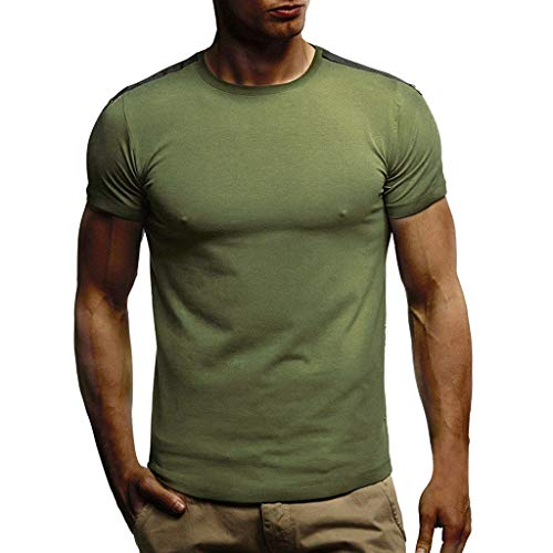 Verano Casual Camiseta De para Hombre De Manga Corta con Cuello Redondo MúSculo BáSico Top Slim Fit(Verde+L