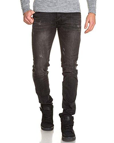 BLZ jeans - Jeans noir homme délavé usé Noir